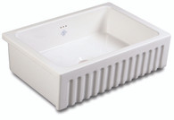 SHAWS BOWLAND 800mm WHITE FIRECLAY SINGLE BOWL SINK - BLF5312WH