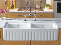 SHAWS RIBCHESTER 795mm WHITE FIRECLAY DOUBLE BOWL 50/50 RATIO SINK WITH FLUTED FASCIA - SO0800010