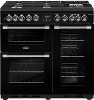 BELLING 90CM COOKCENTRE DELUXE DUAL FUEL GAS THROUGH GLASS COOKER - SPLIT OVENS - BCC900GTG + Colour