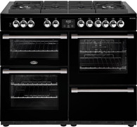 BELLING 110CM COOKCENTRE DELUXE DUAL FUEL GAS THROUGH GLASS COOKER - SPLIT OVENS - BCC1100GTG + Colour