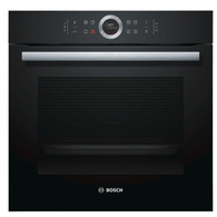 BOSCH 60CM BLACK GLASS PYROLYTIC OVEN - SERIES 8 - HBG675BB2A