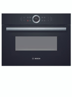 BOSCH 45CM BLACK GLASS COMPACT COMBINATION MICROWAVE OVEN - SERIES 8 - CMG633BB1A