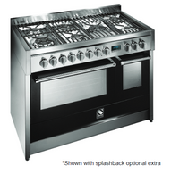 STEEL 120CM GENESI FREESTANDING COMBI-STEAM OVEN  - 6 GAS BURNERS AND MEGA WOK BURNER - G12SEF-6M OT