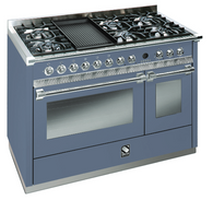 STEEL 120CM ASCOT FREESTANDING COMBI-STEAM OVEN  - 6 GAS BURNERS & 1 WOK & 1 BBQ GRILL - A12SEF-6B OT