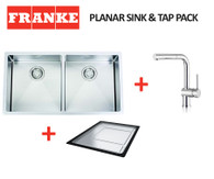 FRANKE PLANAR 12 DOUBLE BOWL SQUARE SINK & TAP & ACCESSORY - PZX220-36R12 + TA7011 PACK