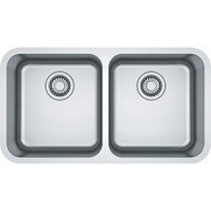 FRANKE BELL DOUBLE BOWL STAINLESS STEEL TOPMOUNT/UNDERMOUNT SINK - BCX 220-38/38