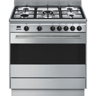 SMEG 90CM S/STEEL DUAL FUEL FREESTANDING THERMOSEALED OVEN - FS9606XSN