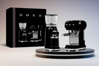 SMEG BLACK RETRO STYLE ESPRESSO COFFEE MACHINE & COFFEE GRINDER PACK - BFCOFFEEPACK