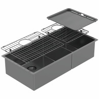 ABEY PIAZZA ONE & 3/4 SQUARE BOWL SINK - BLACK PEARL - CR500DB