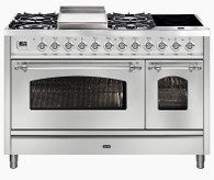 ILVE 120CM NOSTALGIE 6 BURNER + TEPANYAKI PLATE & DUAL ZONE INDUCTION FREESTANDING DOUBLE COOKER - P12FIDNE3 + COLOUR/FITTING