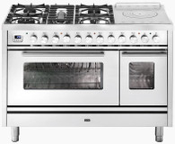 ILVE 120CM NOSTALGIE 5 BURNER WITH FISH BURNER & SIMMER PLATE FREESTANDING DOUBLE COOKER - P12SDNE3 + COLOUR/FITTING
