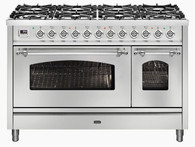 ILVE 120CM NOSTALGIE 8 BURNER WITH TWO WOK BURNERS FREESTANDING DOUBLE COOKER - P128DNE3 + COLOUR/FITTING