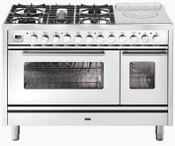 ILVE 120CM PROFESSIONAL PLUS 5 BURNER WITH FISH BURNER & SIMMER PLATE FREESTANDING DOUBLE COOKER - P12SDWE3 + COLOUR OPTIONS