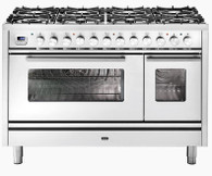 ILVE 120CM PROFESSIONAL PLUS 8 BURNER WITH TWO WOK BURNERS FREESTANDING DOUBLE COOKER - P128DWE3 + COLOUR OPTIONS