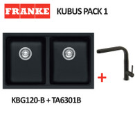 FRANKE KUBUS DOUBLE BOWL SINK WITH SINOS PULL OUT TAP - KBG120-B ONYX + TA6301B