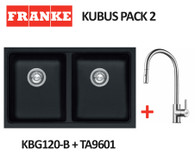 FRANKE KUBUS DOUBLE BOWL SINK WITH EOS STAINLESS STEEL PULL OUT TAP - KBG120-B ONYX + TA9601