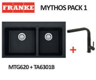 FRANKE MYTHOS BLACK 1 3/4 SINK WITH SINOS PULL OUT TAP - MTG620-B ONYX + TA6301B