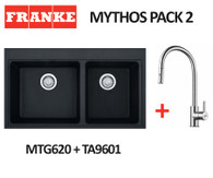 FRANKE MYTHOS BLACK 1 3/4 SINK WITH EOS STAINLESS STEEL PULL OUT TAP - MTG620-B ONYX + TA9601