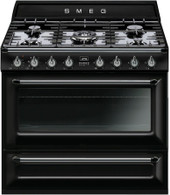 SMEG 90CM BLACK HERITAGE VICTORIA DUAL FUEL FREESTANDING OVEN - TRA90BL9