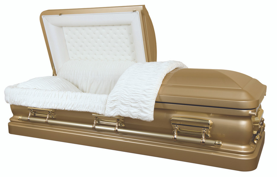 Champagne Gold Finish Casket with Light Cream Velvet Interior