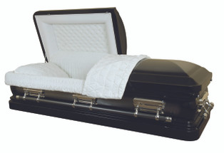 Ebony Two Toned Brushed Silver Casket