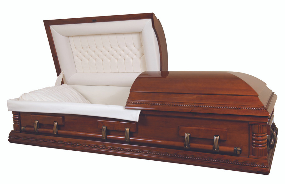 Poplar Medium Mahogany Finish Casket