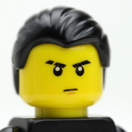 Male Head - black hair - slicked - serious