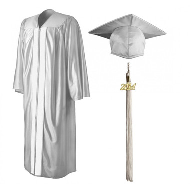 Shown is shiny white cap, gown & tassel package (Cool School Studios 0140).