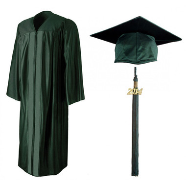 Shown is shiny forest green cap, gown & tassel package (Cool School Studios 0135).