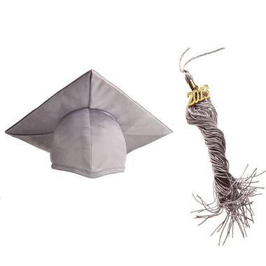 Shown is the shiny silver cap & tassel (Cool School Studios 0118).
