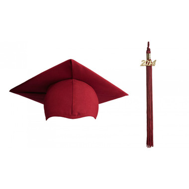 Shown is matte maroon cap & tassel package (Cool School Studios 0120).