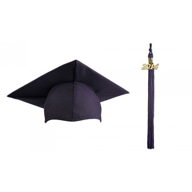Shown is matte navy blue cap & tassel package (Cool School Studios 0123).