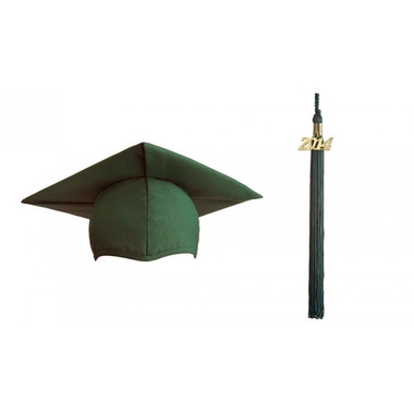 Shown is matte forest green cap & tassel package (Cool School Studios 0125).