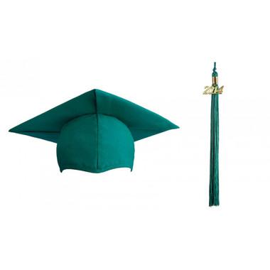 Shown is matte emerald green cap & tassel package (Cool School Studios 0126).