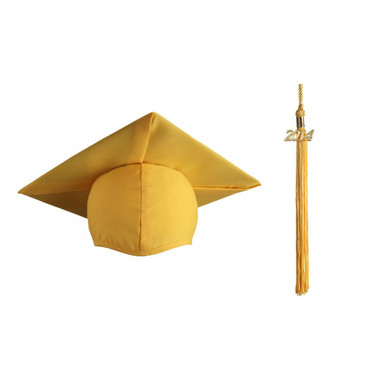 Shown is matte gold cap & tassel package (Cool School Studios 0127).