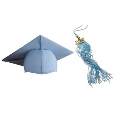 Shown is matte sky blue cap & tassel package (Cool School Studios 0130).