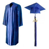Shown is shiny royal blue cap, gown & tassel package (Cool School Studios 0134).