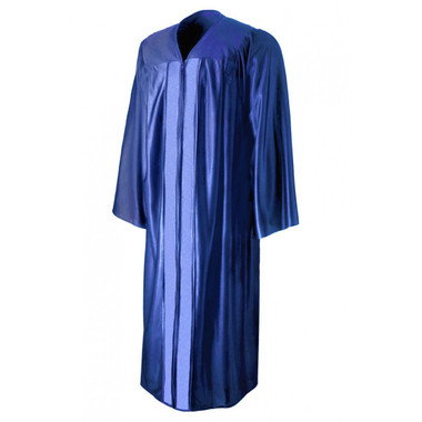 Shown is shiny royal blue gown (Cool School Studios 0003), front view.