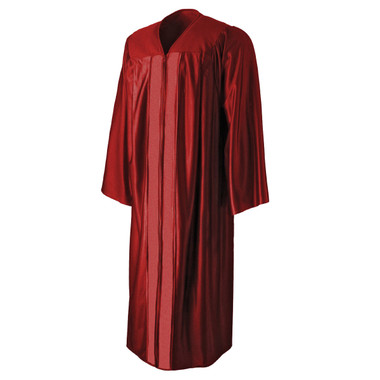 Shown is shiny red gown (Cool School Studios 0004), front view.