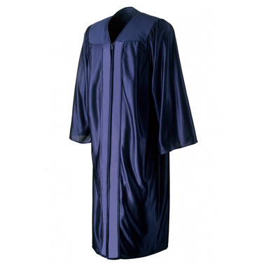 Shown is shiny navy blue gown (Cool School Studios 0005), front view.