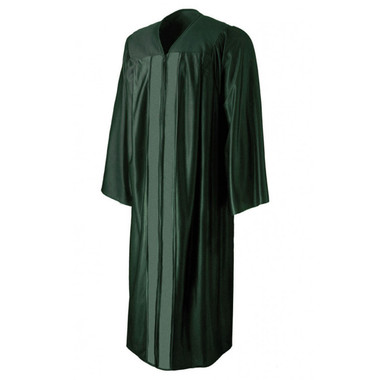 Shown is shiny forest green gown (Cool School Studios 0006), front view.