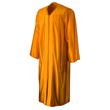 Shown is shiny gold gown (Cool School Studios 0007), front view.