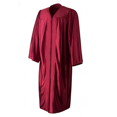 Shown is shiny maroon gown (Cool School Studios 0009), front view.
