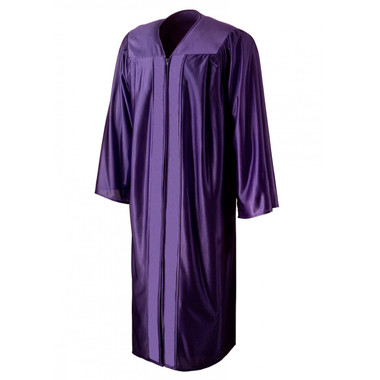 Shown is shiny purple gown (Cool School Studios 0010), front view.