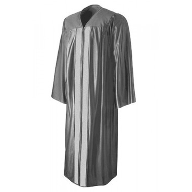 Shown is shiny silver gown (Cool School Studios 0014), front view.