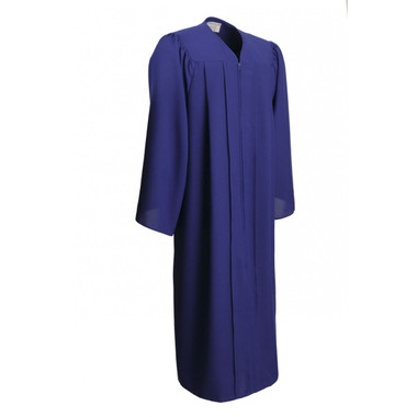 Shown is matte royal blue gown (Cool School Studios 0017), full front view.