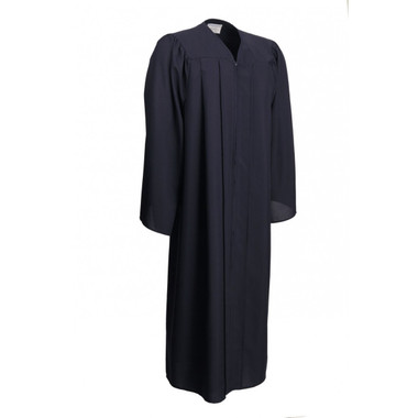 Shown is matte navy blue gown (Cool School Studios 0018), full front view.