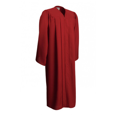 Shown is matte red gown (Cool School Studios 0020), full front view.