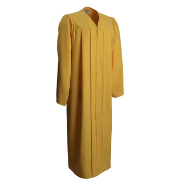 Shown is matte gold gown (Cool School Studios 0021), full front view.