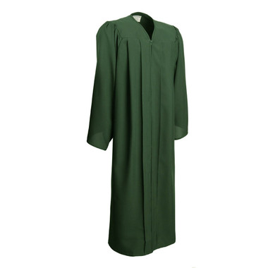 Shown is matte forest green gown (Cool School Studios 0022), full front view.